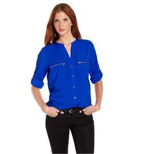 💫 NWT Calvin Klein Zipper Button-Front Blouse 💫